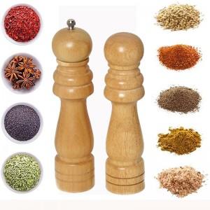 Rubber Wood Pepper Mill And Salt Set
