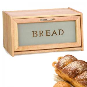 Wooden Bread Bin With Window