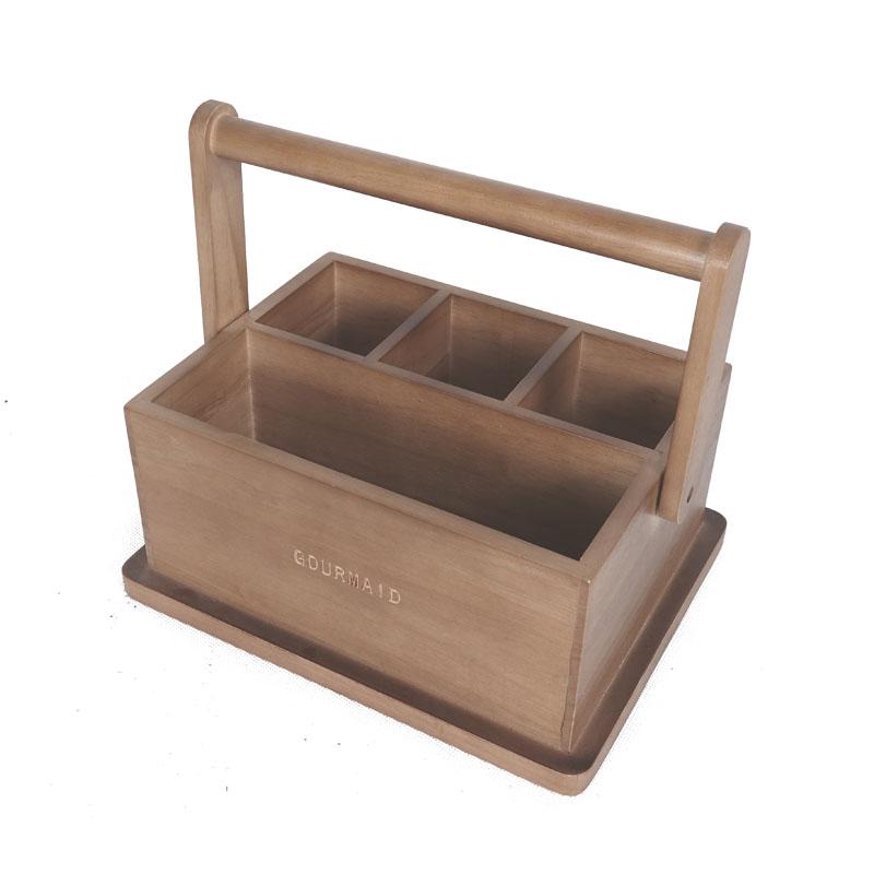 Wooden Cutlery Storage Caddy , Wooden Silverware Caddy