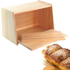 Rubberwood Bread Box And Cutting Board
