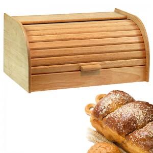 Wooden Bread Bin With Roll Top Lid