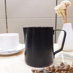 Black Metal Cappuccino Milk Steaming Frothing Mug