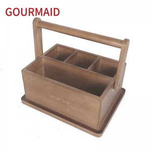 Manufacturing Companies for Stainless Steel Rotating Spice Rack And Jars - wooden cutlery storage caddy – Light Houseware