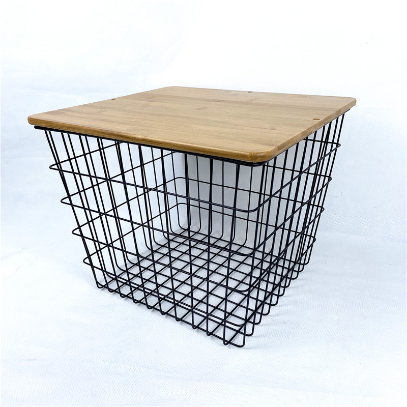 Metal Basket Side Table with Bamboo Lid Featured Image