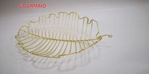 Gold Leaf Shaped Wire Fruit Bowl