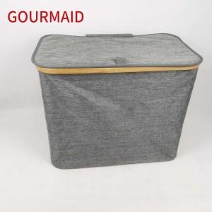 Gray Bamboo Polyester Laundry Hamper