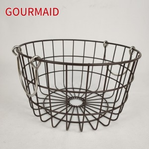 Round Nesting Baskets With Copper Handles