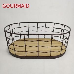 Rustic Wire Wood Bottom Storage Basket