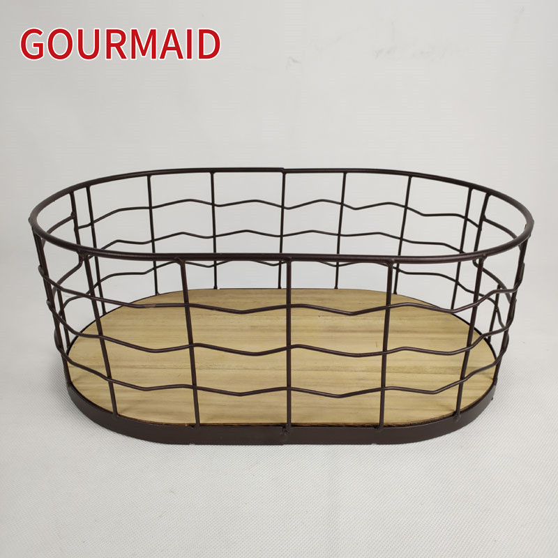 Rustic Wire Wood Bottom Storage Basket Featured Image
