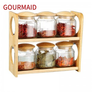 Hot-selling Wooden Cheese Keeper And Dome - 6pcs glass canisters and wooden rack  – Light Houseware