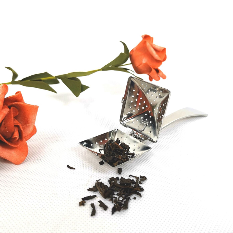 stainless steel square tea infuser with handle